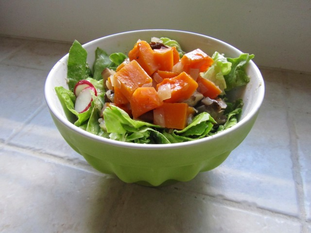 Butter lettuce salad with ragout and radishes