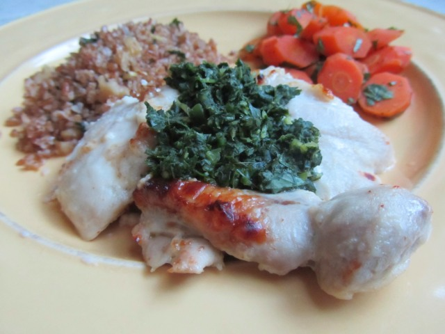 Yogurt Chicken, Carrots, and Bulgur
